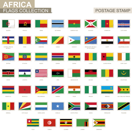 Postage stamp with Africa flags. Set of 53 African flag. Vector Illustration.