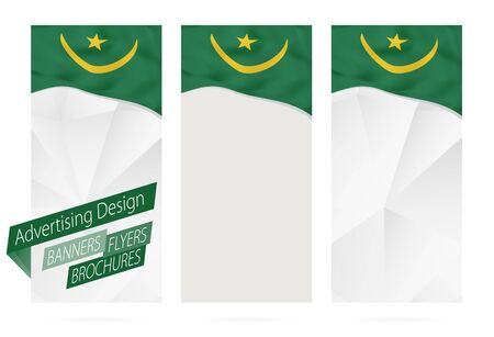 mauritania: Design of banners, flyers, brochures with flag of Mauritania. Leaflet Template for website or printing. Vector Illustration.