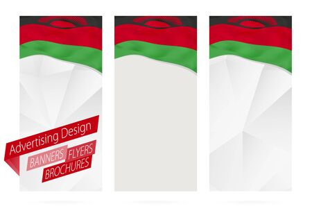 magazine design: Design of banners, flyers, brochures with flag of Malawi. Leaflet Template for website or printing. Vector Illustration.