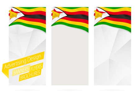 Design of banners, flyers, brochures with flag of Zimbabwe. Leaflet Template for website or printing. Vector Illustration. Illustration