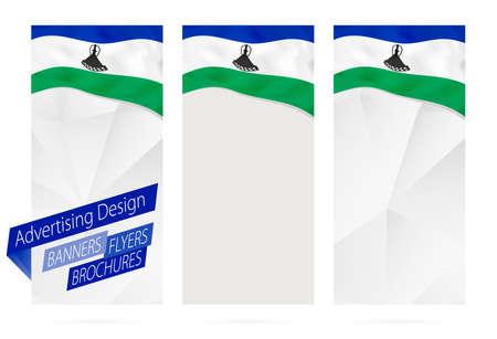 레소토의 국기와 배너, 전단지, 팸플릿의 디자인. 웹 사이트 또는 인쇄용 전단지 템플릿. 벡터 일러스트 레이 션.