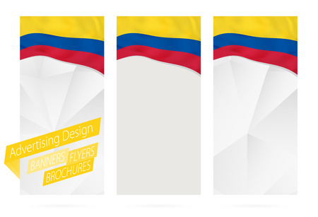 Design of banners, flyers, brochures with flag of Colombia. Leaflet Template for website or printing. Vector Illustration.