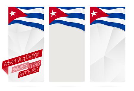 website header: Design of banners, flyers, brochures with flag of Cuba. Leaflet Template for website or printing. Vector Illustration.