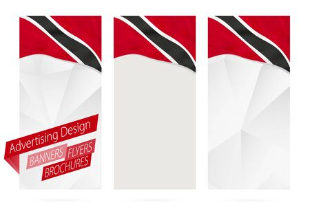 Design of banners, flyers, brochures with flag of Trinidad and Tobago. Leaflet Template for website or printing. Vector Illustration.