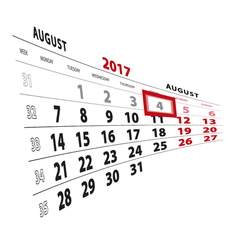 4 August highlighted on calendar 2017. Week starts from Monday. Vector Illustration.