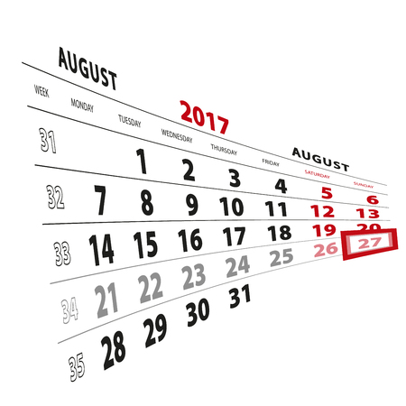 27: 27 August highlighted on calendar 2017. Week starts from Monday. Vector Illustration.