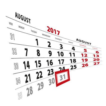 31 August highlighted on calendar 2017. Week starts from Monday. Vector Illustration. Illustration