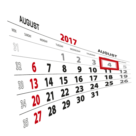 August 4, highlighted on 2017 calendar. Week starts from Sunday. Vector Illustration. Stock Vector - 83373464