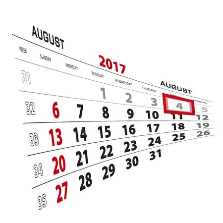 August 4, highlighted on 2017 calendar. Week starts from Sunday. Vector Illustration. Illustration