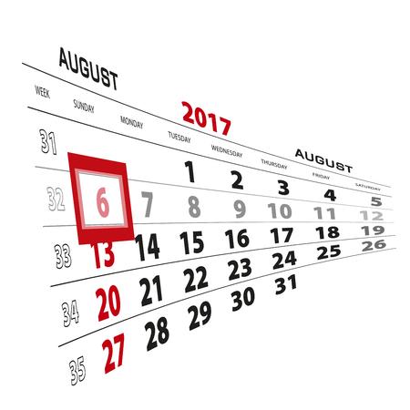 August 6, highlighted on 2017 calendar. Week starts from Sunday. Vector Illustration.