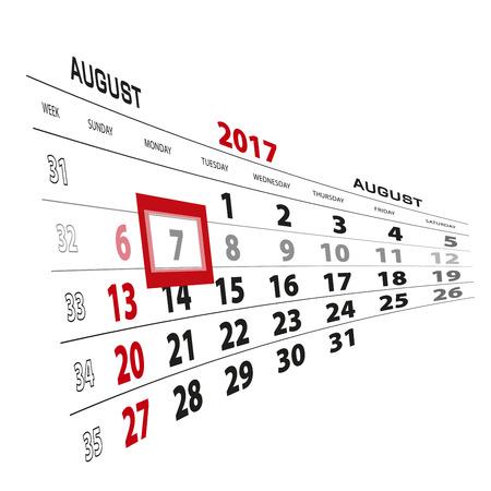 August 7, highlighted on 2017 calendar. Week starts from Sunday. Vector Illustration. Illustration
