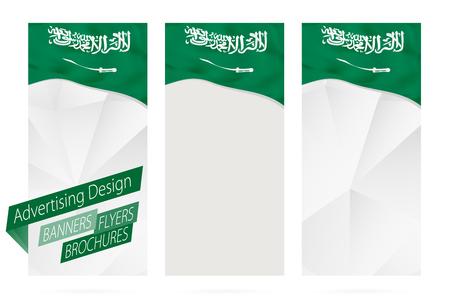 website header: Design of banners, flyers, brochures with flag of Saudi Arabia. Leaflet Template for website or printing. Vector Illustration.