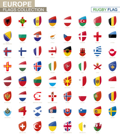European countries flags collection. Rugby flag set. Vector Illustration.  イラスト・ベクター素材