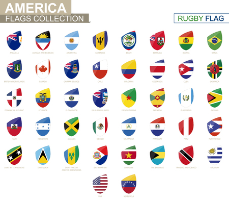 American countries flags collection. Rugby flag set. Vector Illustration. Illustration