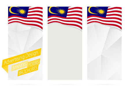 Design of banners, flyers, brochures with flag of Malaysia. Leaflet Template for website or printing. Vector Illustration. Illustration