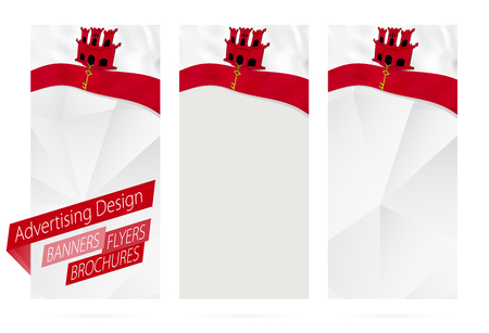 Design of banners, flyers, brochures with flag of Gibraltar. Leaflet Template for website or printing. Vector Illustration.