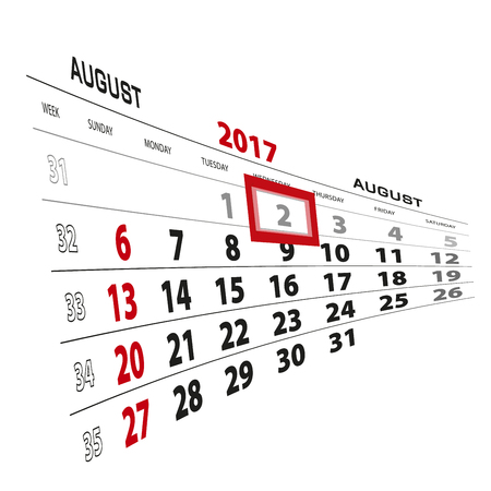 August 2, highlighted on 2017 calendar. Week starts from Sunday. Vector Illustration. Illustration