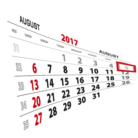 August 5, highlighted on 2017 calendar. Week starts from Sunday. Vector Illustration. Illustration