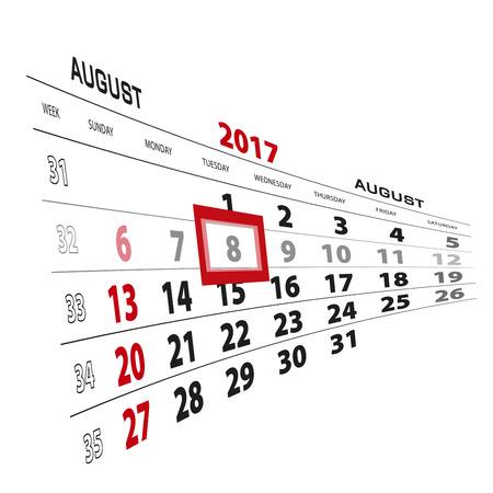 August 8, highlighted on 2017 calendar. Week starts from Sunday. Vector Illustration.