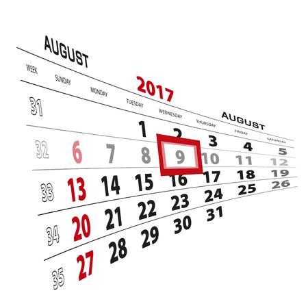 August 9, highlighted on 2017 calendar. Week starts from Sunday. Vector Illustration.