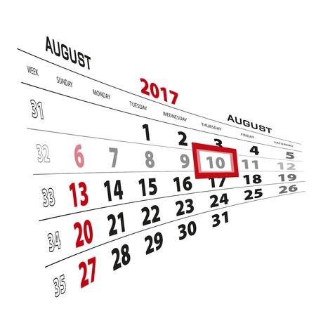 August 10, highlighted on 2017 calendar. Week starts from Sunday. Vector Illustration. Illustration
