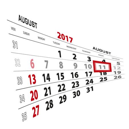 August 11, highlighted on 2017 calendar. Week starts from Sunday. Vector Illustration.