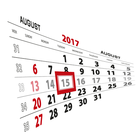 August 15, highlighted on 2017 calendar. Week starts from Sunday. Vector Illustration. Illustration