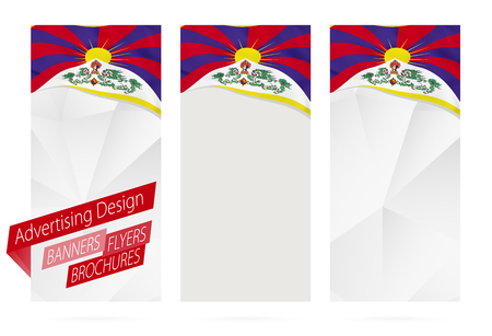 website header: Design of banners, flyers, brochures with flag of Tibet. Leaflet Template for website or printing. Vector Illustration. Illustration