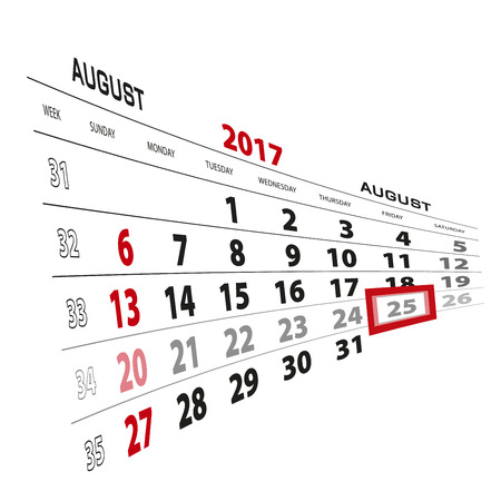 August 25, highlighted on 2017 calendar. Week starts from Sunday.