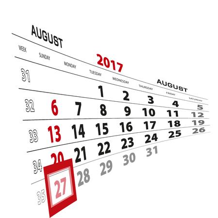 August 27, highlighted on 2017 calendar. Week starts from Sunday. Vector Illustration. Illustration