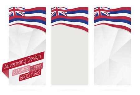 Design of banners, flyers, brochures with Hawaii State Flag. Leaflet Template for website or printing. Vector Illustration. Illustration