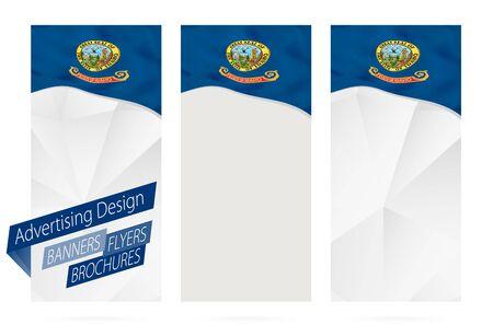 website header: Design of banners, flyers, brochures with Idaho State Flag. Leaflet Template for website or printing. Vector Illustration. Illustration