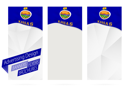 Design of banners, flyers, brochures with Kansas State Flag. Leaflet Template for website or printing. Vector Illustration.