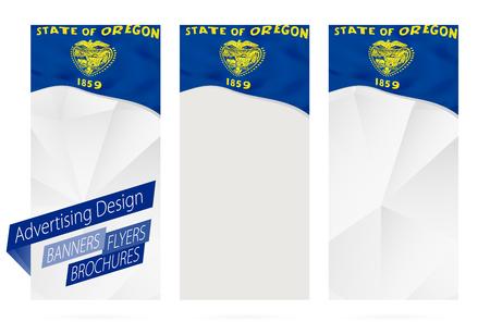 Design of banners, flyers, brochures with Oregon State Flag. Leaflet Template for website or printing. Vector Illustration.