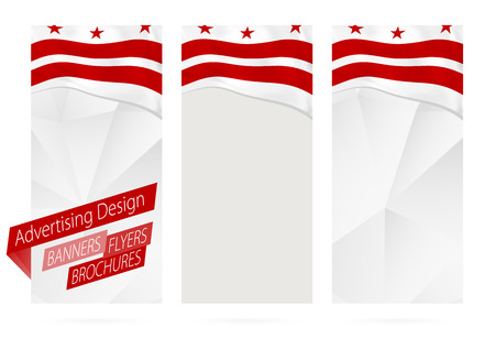 Design of banners, flyers, brochures with District of Columbia Flag. Leaflet Template for website or printing. Vector Illustration. Illustration