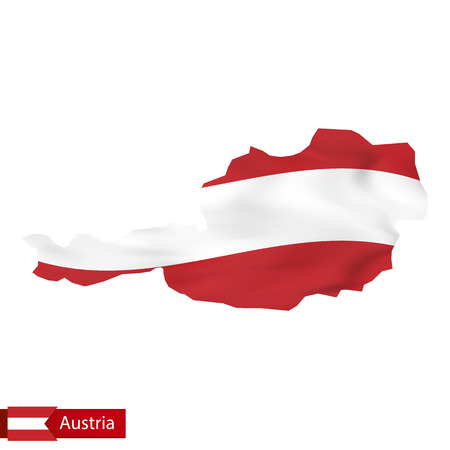 Austria map with waving flag of Austria. Vector illustration.