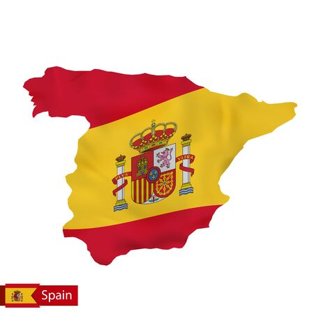 Spain map with waving flag of Spain. Vector illustration. Illustration