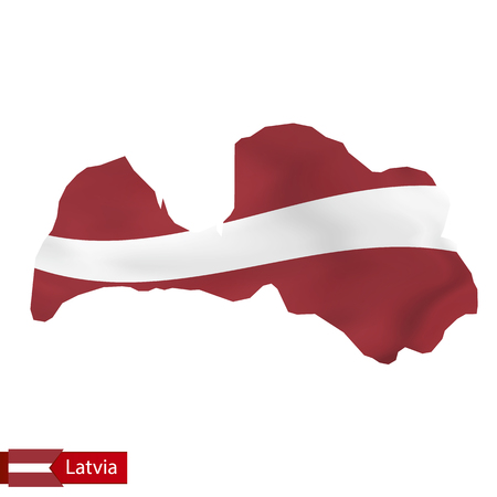 Latvia map with waving flag of Latvia. Vector illustration.