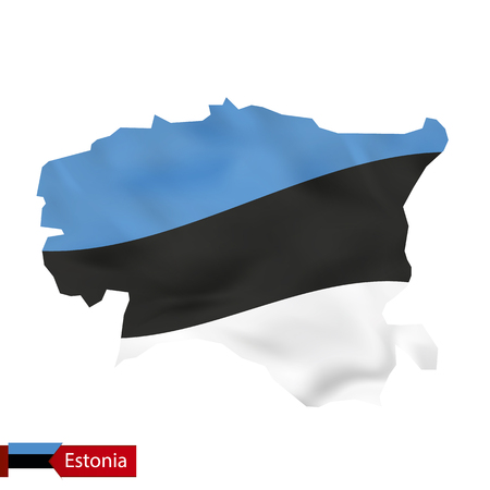 Estonia map with waving flag of Estonia. Vector illustration.