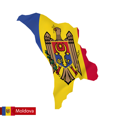 Moldova map with waving flag of Moldova. Vector illustration. Illustration