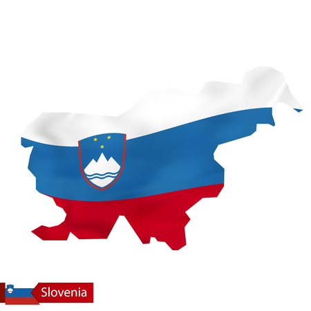 Slovenia map with waving flag of Slovenia. Vector illustration.