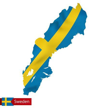 Sweden map with waving flag of Sweden. Vector illustration.