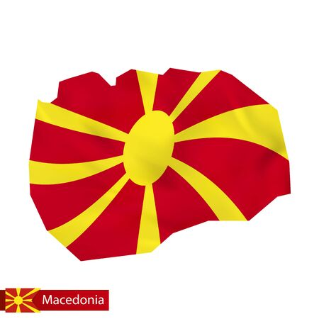 Macedonia map with waving flag of Macedonia. Vector illustration.