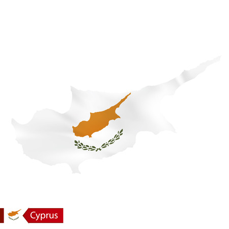 Cyprus map with waving flag of Cyprus. Vector illustration.