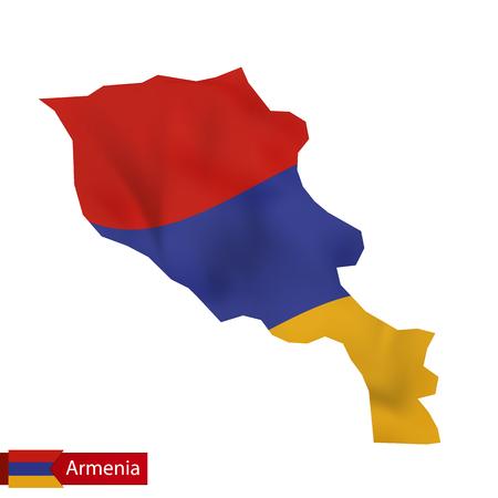 Armenia map with waving flag of Armenia. Vector illustration.