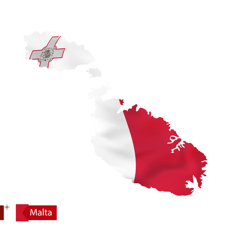 Malta map with waving flag of Malta. Vector illustration.