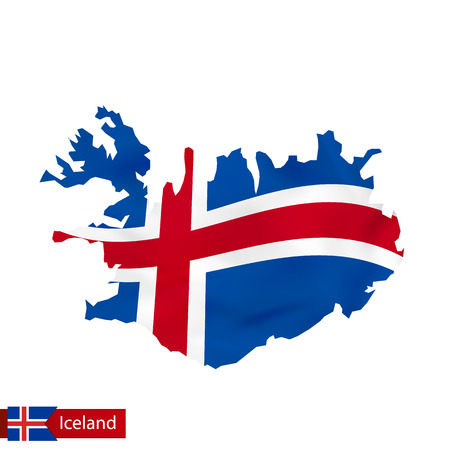 Iceland map with waving flag of Iceland. Vector illustration.