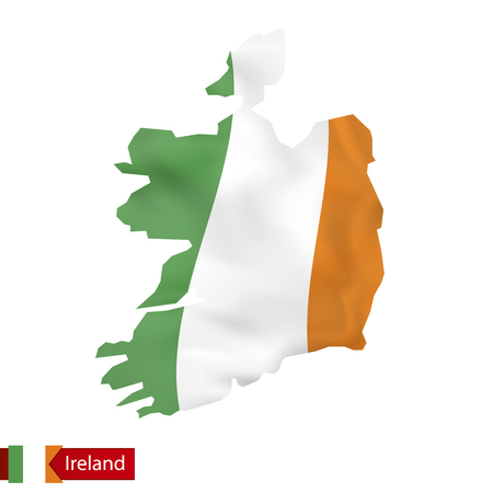Ireland map with waving flag of Ireland. Vector illustration. Stok Fotoğraf - 83913272