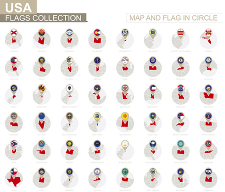 Map and Flag in Circle, U.S. states Collection. Alphabetically sorted flags and maps. Vector Illustration.