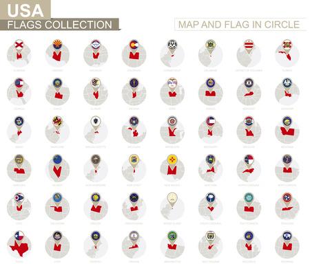 地図と円、米国コレクション内のフラグ。アルファベット順に並べ替えられたフラグとマップ。ベクトルの図。